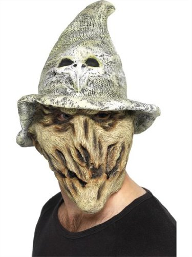 Hexenmaske mit Hexen Hut Totenkopf Look Latex Maske fullsize superfies Halloween Hammer Horror Verkleidung auch perfekt als Bierzelt Zombie durch den Hut im Seppl (Look Zombie)