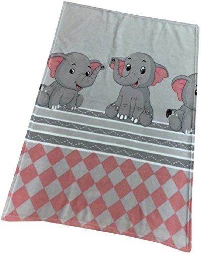 Baby Kuscheldecke Wolldecke Fleece Krabbeldecke Schmusedecke Babydecke 75x100 cm Elefant