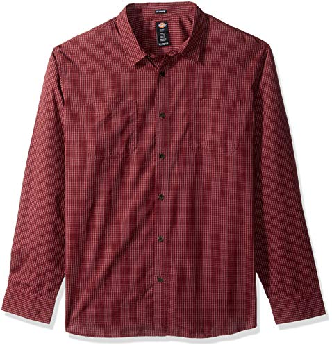 Dickies Men's Long Sleeve Relaxed Fit Yarn Dye Plaid Shirt Big-Tall, - Dye Plaid Shirt