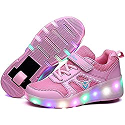LED Zapatillas Deporte Patín Ruedas Luminoso Formadores Flying Niños LED con un Adulto Rueda Intermitente Zapatos (Rosa,EU 32)