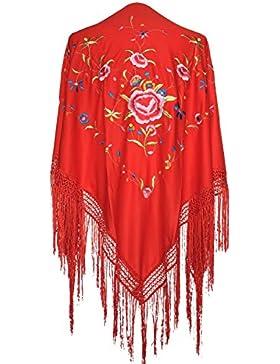La Señorita Mantones bordados Flamenco Manton de Manila rojo flores de colores