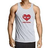 lepni.me Camisetas de Tirantes para Hombre Mi Novia de San Valentín,Comillas Sobre el Amor Asombroso Regalo (XX-Large Blanco Rojo)