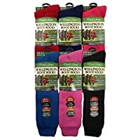 Ladies Girls Wool Blend Hiking,Walking Wellington Boot Knee Length Socks,Warmers BY David James