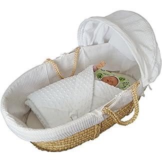 BlueberryShop polar Minky manta reversible para envolver al bebé | Saco de dormir para bebés recién nacidos | Para bebés de 0-3 meses | Regalo perfecto para Baby Shower | 78 x 80 cm | Azul Blanco