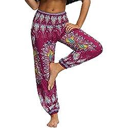 Nuofengkudu Mujer Hippies Pantalones Harem Tailandeses Boho Estampados Bolsillos Cintura Alta Baggy Yoga Pants Verano Playa Fiesta (Rose,Talla única)