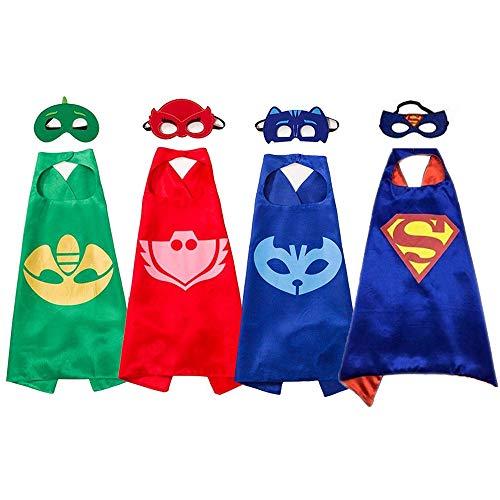Superhelden-Masken, Kostüme und Verkleidungen für Kinder – Umhang und Masken für Superhelden-Mädchen (Superhelden-Mädchen), 4 Stück