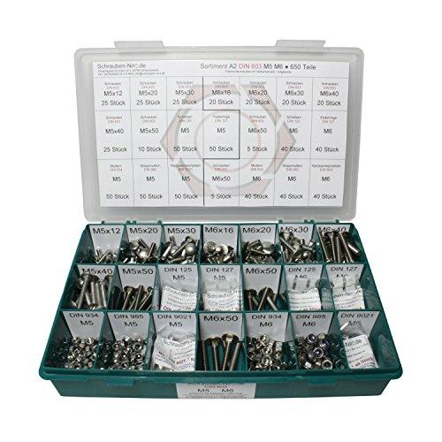Sortiment M5 + M6 DIN 603 Edelstahl A2 (V2A) Flachrundschrauben mit Vierkantansatz (Schlossschrauben) - Set mit Schrauben, Scheiben (DIN 125, 127, 9021) + Muttern (DIN 934, 985) - 670 Teile