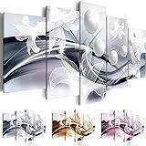 Cuadro 200x100 cm ! Tres colores a elegir - 5 Partes - Formato Grande - Impresion en calidad fotografica - Cuadro en lienzo tejido-no tejido - Abstracci�n Flor b-A-0226-b-n 200x100 cm B&D XXL
