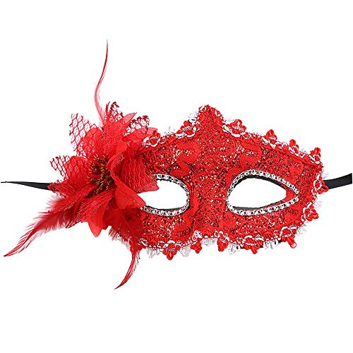 Maskerade Kostüm Ball - ODJOY-FAN Drachenmuster Seitliche Blume Masken für Damen, Sexy Spitze Auge Gesicht Maske Maskerade Party Masken Ball Abschlussball Kostüm Charms Masks(Rot,1 PC)