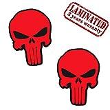 Skino 2 Stück Vinyl Aufkleber Autoaufkleber Punisher Skull Schädel Totenkopf Rot Knochen Horror Stickers Auto Moto Motorrad Fahrrad Helm Fenster Tuning B 30