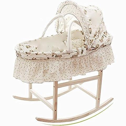Qian Paille Lit bébé berceau portable panier main bassinet avec un support de berceau pour bébé