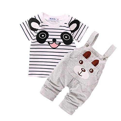 3 4 Hose (Babybekleidung,Resplend Kinder Baby Karikatur Karikatur Bär Hosenträger 2 Stück Mode Babyanzug Streifen Pullover + Hosen Outfits Set (Gary, 3-4Y))