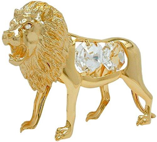 n Tischdekoration Figur Löwe mit Glas Kristallen 90 x 60 mm vergoldet Sammlerstück ()
