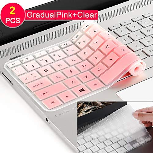 [2] Tastatur Schutzhülle für HP Envy X3602-in-1-39,6cm Laptop Serie/2018 HP Pavilion 39,6cm Serie/2018HP Envy 43,9cm 17M 17-BS 17-BW Serie Touchscreen Notebook schützende Haut gradualpink (Skin Für Hp Touchscreen Laptop)