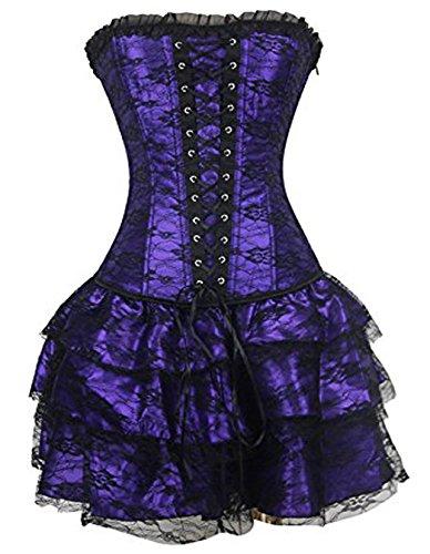 k Bügel Spitze Korsetts und Halloween Korsagen Kleid mit Rock - Lila, Medium (Burlesque Korsett Kleid)