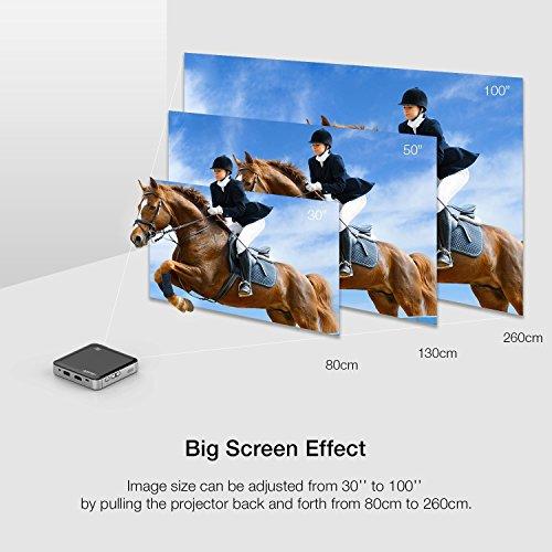 Apeman Mini DLP-Videoprojektor, HD, integrierter wiederaufladbarer Akku, HDMI- und MHL-Eingang, zwei integrierte Stereo-Lautsprecher, LED-Lebensdauer bis 25.000Stunden, Schwarz