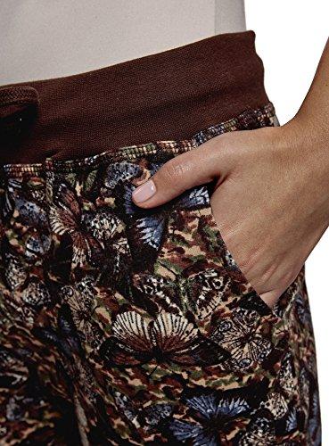 oodji Ultra Damen Jersey-Hose mit Bindebändern Braun (3969U)