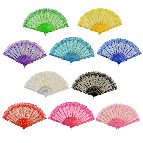 e Lace Folding Fans, Floral Hand Fans 9 Zoll geeignet für Hochzeit Tanzen Kirche, 10 Stück zufällige Farbe ()