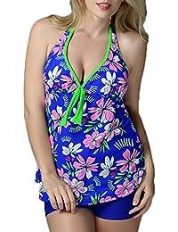 Mochoose Maillot De Bain Femme Tankini 2 Pièces Grande Taille Sport Imprimé Swimwear avec Short Halter Robe De Plage pour L'été