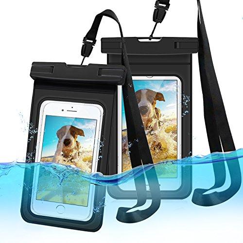 LEMEGO 2 Stück Wasserdichte Handyhülle Wasserfeste handyhülle Tasche staubdicht Schützhülle für iPhone X 8 7 6s 6 Plus 5s Samsung S8 S7 S6 bis zu 6 Zoll