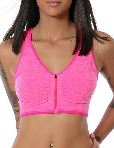 Damen Yoga Sport Push-Up BH Reißverschluss Ohne Bügel (weitere Farben) No 13885, Farbe:Pink;Größe:M / L