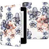 MoKo Kindle Paperwhite Case, Premium Thinnest and Lightest Leather Cover with Auto Wake / Sleep for Amazon All-New Kindle Paperwhite (Fits All 2012, 2013 and 2015 Versions), Floral INDIGO