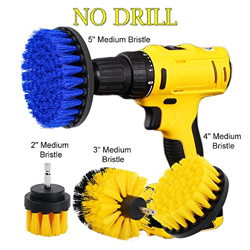 (OxoxO 2 3 4 5 inch Scrub Brush Drill Attachment Time Saving Cleaning Kit - Great for Cleaning Pool Tile, Flooring, Brick, Ceramic, Marble, Grout, and Much More)