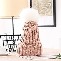 Wenxin0815 Winter'S Hut Mädchen Gestrickte Mütze Mit Einem Dicken Mütze, Pink White Ball