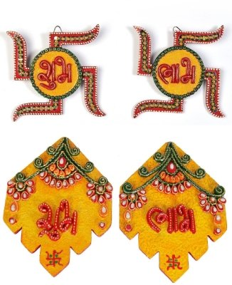 JaipurCrafts Combo Of Decorative Swastika And Leaf Shubh Labh Wall Hangings Showpiece - 15.24 cm (Wood, Paper Mache, Multicolor)