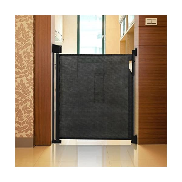 Safetots Advanced Retractable Safety Gate Black 0cm - 120cm Safetots Unique, advanced locking system: No need to fully retract each time you walk through gate Screw fitting retractable gate. Retracts fully out of the way when not in use Easy installation (Fittings and Installation Template included) 2