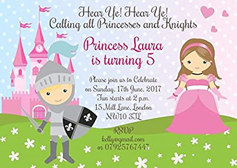10 x Personalised Joint Birthday Party Invitations or Thank you Cards Princesses and Knights