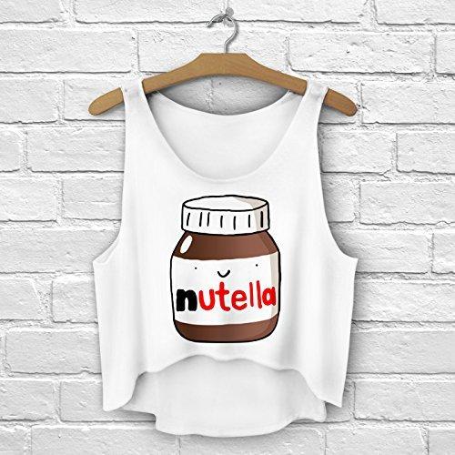 Bauchfreies Oberteil für den Sommer, Tank Top, weiß, Bluse für Damen und Mädchen, Größen S/M/L Nutella