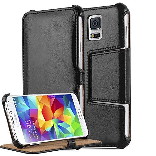 Preisvergleich Produktbild Cadorabo Hülle für Samsung Galaxy S5 / S5 NEO - Hülle in Piano SCHWARZ – Handyhülle OHNE Magnetverschluss mit Standfunktion und Eckhalterung - Hard Case Book Etui Schutzhülle Tasche Cover
