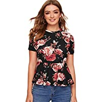 SheIn Women's Casual Floral Print Short Sleeve Babydoll Ruffle Peplum Blouse Tops Multicolor XS