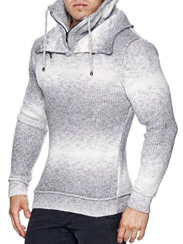 Wasabi Herren Strick Doppelkragen Pullover Weiß