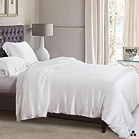 ElleSilk Einfarbig Luxus Seide Weiß Bettbezug, 100% Hochwertige Maulbeerseide, Pflegeleicht, King Size (225 cm x 220 cm)