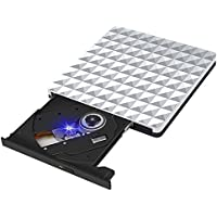 Externa Grabador DVD, Lector Unidad DVD Portátil USB 3.0 CD RW Row Rewriter Burner para Macbook OS con Windows PC