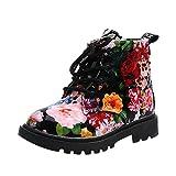 FriendG Girls Fashion Floral Kids Shoes Baby Martin Boots Casual Children Boots (UK:8.5, Black)