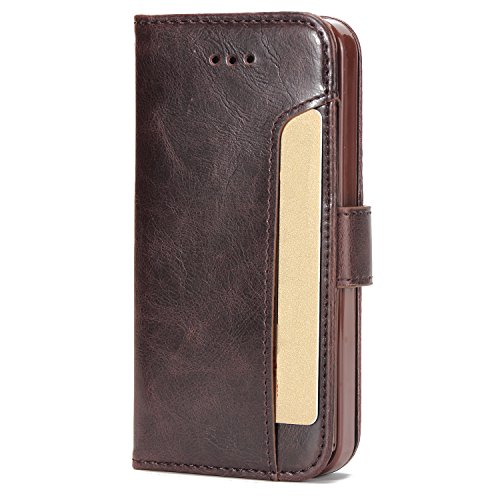 Cubix Wallet Case Leather Flip Cover for Apple iPhone 5 iPhone 5s iPhone SE  Brown