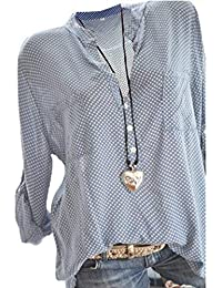 35f63fa2a68683 Damen Freizeit V-Ausschnitt Manschetten-Ärmel Locker Punkte Taschen Shirt  Bluse