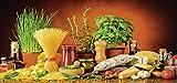 Artland Qualität I Glas Küchenrückwand ESG Spritzschutz Küche 120 x 56 cm Gemüse Digitale Kunst Bunt G5TN Mediterranes und Italienisches Essen mit Nudeln Käse Wurst Kräutern und Gewürzen