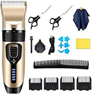 Professional Hair Clippers for Men Kids, Hair Trimmer Kits Set Cordless USB Rechargeable Five Speed Adjustment