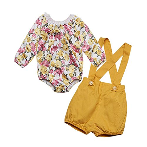 Kleinkind Kinder Baby Mädchen Outfits Kleider Hirolan Spitze Blumen Strampelhöschen Tops + Shorts Hose Set (Gelb, (Kostüm Dragon Kleinkind Ball)