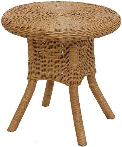 korb.outlet Rattan-Tisch Ø52cm/Runder Beistelltisch, Couchtisch aus Echtem Rattan/Runder Kinder-Tisch/Rattantisch Kaffeetisch Tischchen (Honig)
