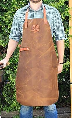 McBrikett Leder Grillschürze 100% Echtleder | 82x60cm | Grill & BBQ Schürze