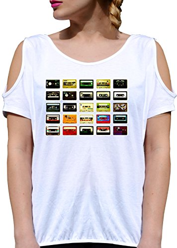 T SHIRT JODE GIRL GGG27 Z3084 CASSETTES TAPES COMPOSITION POP ART FUN FASHION COOL BIANCA - WHITE L