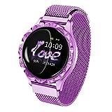 Chic Gadget Neuer Trend Smart Armband Damen Sport Watch Fitness Aktivitätstracker Schlafen Blutsauerstoff Pulsmesser Armbanduhr Edelstahl Wasserdicht Uhr D18 (Purple)
