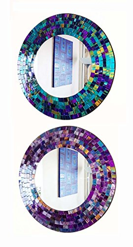 Namaste Round purple or teal mosaic wall mirror 40cm-hand made in Bali-NEW (Purple)
