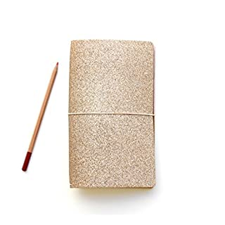 Traveler's Notebook, Gold Glitter with reversible metallic rose gold. Comes with notebook insert + 3 closure band options.