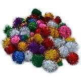 Glitter Pompons - Glitzer Pom Pom mit Metallfäden, 100 Stück in 5 Größen und 9 Farben sortiert